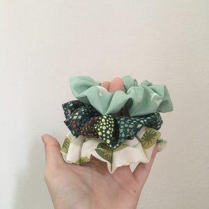 green frog and mushroom hair scrunchie set